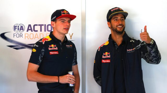 Max Verstappen (NED) Red Bull Racing and Daniel Ricciardo (AUS) Red Bull Racing at Formula One World Championship, Rd5, Spanish Grand Prix, Race, Barcelona, Spain, Sunday 15 May 2016. &copy&#x3b; Sutton Images