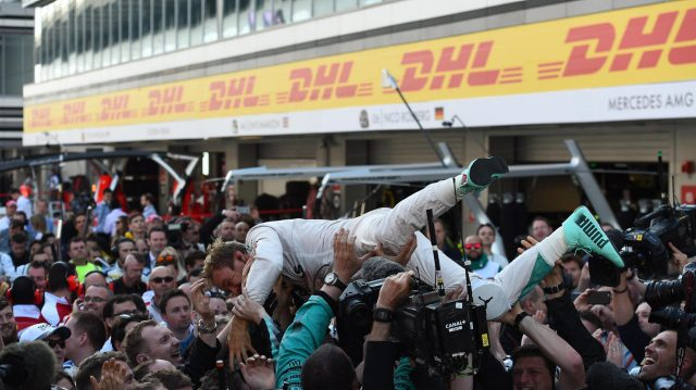 Race winner Nico Rosberg (GER) Mercedes AMG F1 celebrates with his mechanics in parc ferme at Formula One World Championship, Rd4, Russian Grand Prix, Race, Sochi Autodrom, Sochi, Krasnodar Krai, Russia, Sunday 1 May 2016. &copy&#x3b; Sutton Motorsport Images