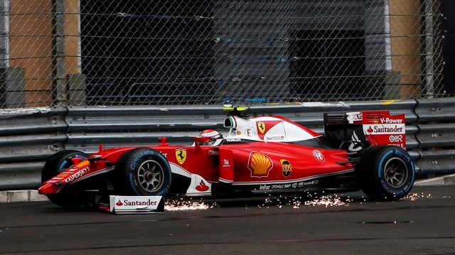 Kimi Raikkonen (FIN) Ferrari SF16-H retires from the race with a broken front wing after crashing at Formula One World Championship, Rd6, Monaco Grand Prix, Race, Monte-Carlo, Monaco, Sunday 29 May 2016. &copy&#x3b; Sutton Images