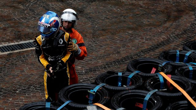 Race retiree Jolyon Palmer (GBR) Renault Sport F1 Team after crashing out of the race at Formula One World Championship, Rd6, Monaco Grand Prix, Race, Monte-Carlo, Monaco, Sunday 29 May 2016. &copy&#x3b; Sutton Images