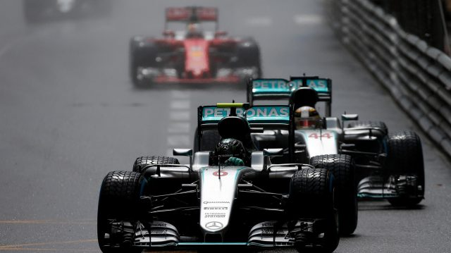 Nico Rosberg (GER) Mercedes-Benz F1 W07 Hybrid leads Lewis Hamilton (GBR) Mercedes-Benz F1 W07 Hybrid at Formula One World Championship, Rd6, Monaco Grand Prix, Race, Monte-Carlo, Monaco, Sunday 29 May 2016. &copy&#x3b; Sutton Images