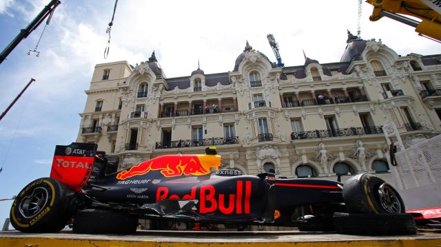 The crashed car of Max Verstappen (NED) Red Bull Racing RB12 at Formula One World Championship, Rd6, Monaco Grand Prix, Race, Monte-Carlo, Monaco, Sunday 29 May 2016. &copy&#x3b; Sutton Images