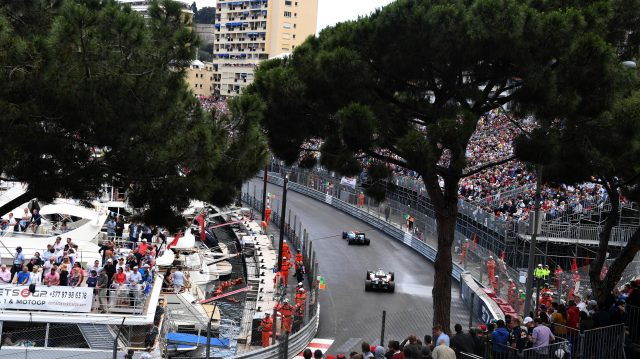 Pascal Wehrlein (GER) Manor Racing MRT05 and Romain Grosjean (FRA) Haas VF-16 at Formula One World Championship, Rd6, Monaco Grand Prix, Race, Monte-Carlo, Monaco, Sunday 29 May 2016. &copy&#x3b; Sutton Images