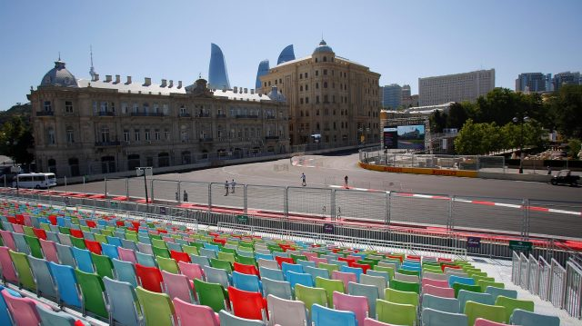 Grandstand at Formula One World Championship, Rd8, European Grand Prix, Preparations, Baku City Circuit, Baku, Azerbaijan, Wednesday 15 June 2016. &copy&#x3b; Sutton Images