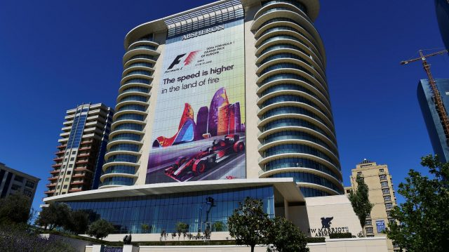 Banner on building at Formula One World Championship, Rd8, European Grand Prix, Preparations, Baku City Circuit, Baku, Azerbaijan, Tuesday 14 June 2016. &copy&#x3b; Sutton Images