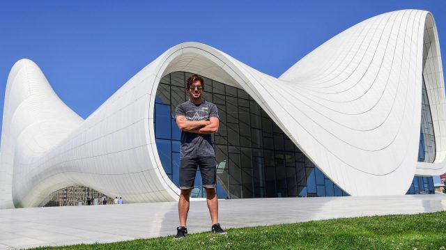 Fernando Alonso (ESP) McLaren at Heydar Aliyev Centre at Formula One World Championship, Rd8, European Grand Prix, Preparations, Baku City Circuit, Baku, Azerbaijan, Wednesday 15 June 2016. &copy&#x3b; Sutton Images
