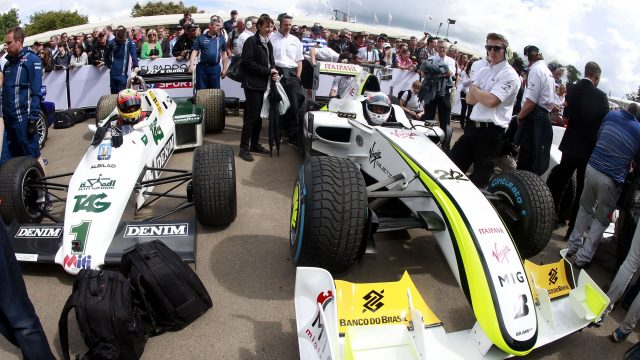 Karun Chandhok (IND) Williams FW08 1983 and Martin Brundle (GBR) Brawn BGP001 2009 at Goodwood Festival of Speed, Goodwood, England, 24-26 June 2016. © Sutton Images