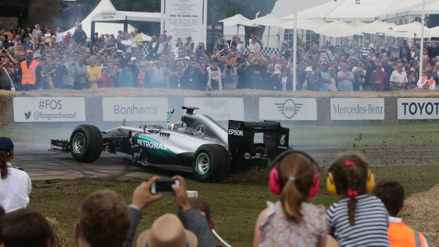 Nico Rosberg (GER) Mercedes-Benz F1 W05 Hybrid performs donuts at Goodwood Festival of Speed, Goodwood, England, 24-26 June 2016. &copy&#x3b; Sutton Images