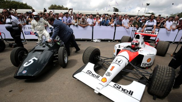 Jackie Stewart (GBR) and Nobuharu Matsushita (JAP) McLaren MP4/6 Honda at Goodwood Festival of Speed, Goodwood, England, 24-26 June 2016. &copy&#x3b; Sutton Images