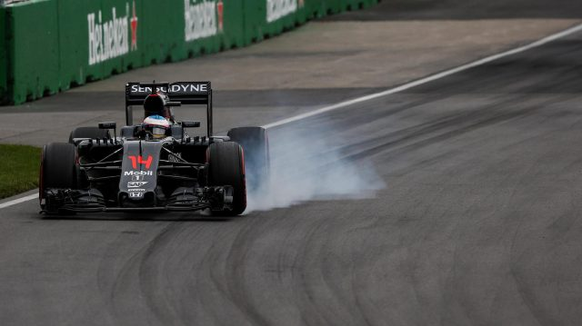 Fernando Alonso (ESP) McLaren MP4-31 locks up at Formula One World Championship, Rd7, Canadian Grand Prix, Qualifying, Montreal, Canada, Saturday 11 June 2016. &copy&#x3b; Sutton Images