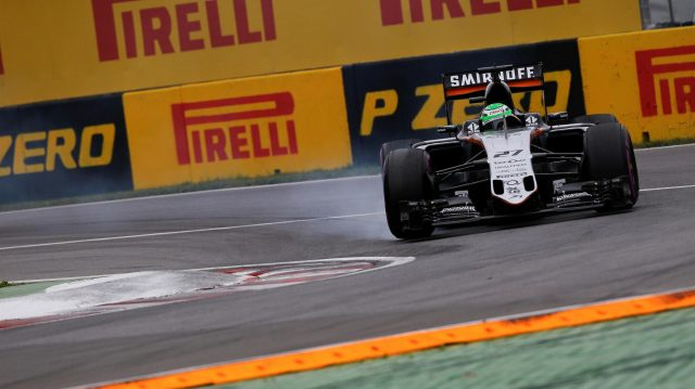 Nico Hulkenberg (GER) Force India VJM09 locks up at Formula One World Championship, Rd7, Canadian Grand Prix, Qualifying, Montreal, Canada, Saturday 11 June 2016. &copy&#x3b; Sutton Images