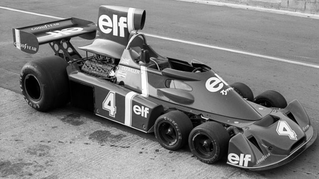 A prototype Tyrrell P34 - essentially the six-wheeled design mated to the existing 007 chassis - in testing at Silverstone prior to its Grand Prix debut in 1976. © Sutton Motorsport Images