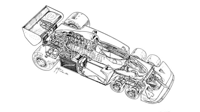 Underneath the skin of the ingenious Tyrrell P34. &copy&#x3b; Giorgio Piola