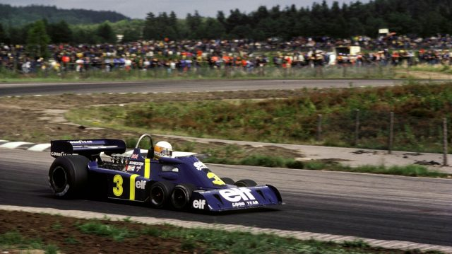 Jody Scheckter claimed the first and only victory for a six-wheeled Formula One car in the Swedish Grand Prix at Anderstorp, 13 June 1976. ©Sutton Motorsport Images