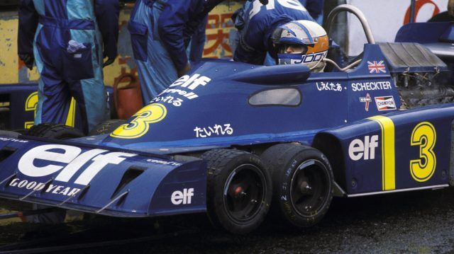 Jody Scheckter, who retired on lap 59 with an overheating engine, experiments with a wet and a slick front tyre combination during the wet race morning practice session. Japanese Grand Prix,Fuji, Japan, 24 October 1976. © Sutton Motorsport Images