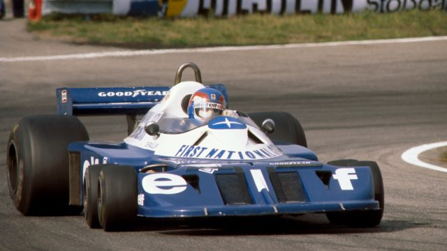 Patrick Depailler pilots the 1977-spec wide-track P34B at the Dutch Grand Prix at Zandvoort, 28 August 1977. &copy&#x3b; Sutton Motorsport Images