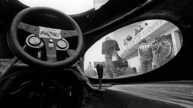 A view from inside the cockpit of the six-wheeled Tyrrell P34 which had clear cut-outs incorporated into the bodywork to allow the drivers to see the small front wheels. German Grand Prix, Nurburgring, 1 August 1976. &copy&#x3b; Sutton Motorsport Images