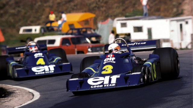 Fourth placed Jody Scheckter (RSA) Tyrrell P34, leads his team mate Patrick Depailler (FRA) Tyrrell P34, who finished in second position. Canadian Grand Prix, Mosport Park, 3 October 1976. &copy&#x3b; Sutton Motorsport Images