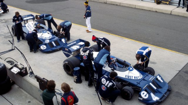Patrick Depailler, who finished fourteenth, sits in the pits with team mate Ronnie Peterson, who finished the race in sixteenth position. United States Grand Prix, Watkins Glen, 2 October 1977.  &copy&#x3b; Sutton Motorsport Images