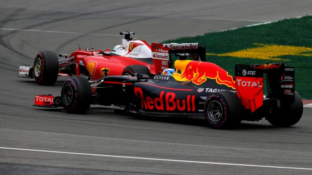 Sebastian Vettel (GER) Ferrari SF16-H and Daniel Ricciardo (AUS) Red Bull Racing RB12 battle at Formula One World Championship, Rd7, Canadian Grand Prix, Race, Montreal, Canada, Sunday 12 June 2016. &copy&#x3b; Sutton Images