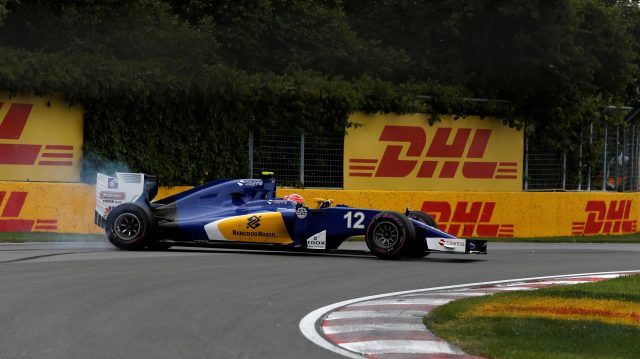 Felipe Nasr (BRA) Sauber C35 spins at the start of the race at Formula One World Championship, Rd7, Canadian Grand Prix, Race, Montreal, Canada, Sunday 12 June 2016. &copy&#x3b; Manolo Media Sutton Images