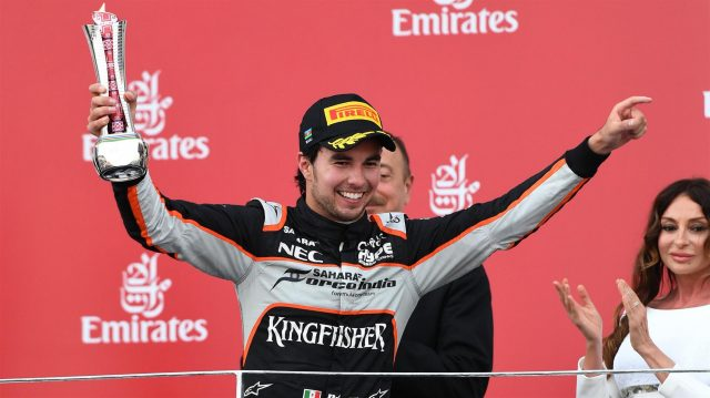 Sergio Perez (MEX) Force India celebrates on the podium with the trophy at Formula One World Championship, Rd8, European Grand Prix, Race, Baku City Circuit, Baku, Azerbaijan, Sunday 19 June 2016. &copy&#x3b; Sutton Images
