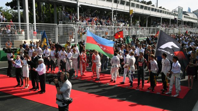 National Anthem is observed on the grid at Formula One World Championship, Rd8, European Grand Prix, Race, Baku City Circuit, Baku, Azerbaijan, Sunday 19 June 2016. &copy&#x3b; Sutton Images