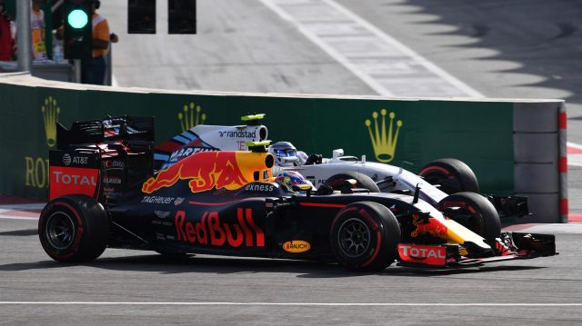 Max Verstappen (NED) Red Bull Racing RB12 and Valtteri Bottas (FIN) Williams FW38 battle at Formula One World Championship, Rd8, European Grand Prix, Race, Baku City Circuit, Baku, Azerbaijan, Sunday 19 June 2016. &copy&#x3b; Sutton Images