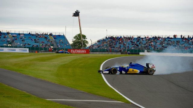 Marcus Ericsson (SWE) Sauber C35 crashes in FP3 at Formula One World Championship, Rd10, British Grand Prix, Qualifying, Silverstone, England, Saturday 9 July 2016. &copy&#x3b; Sutton Images