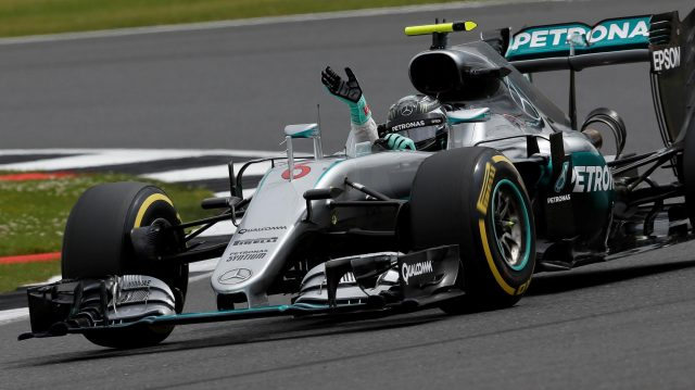 Nico Rosberg (GER) Mercedes-Benz F1 W07 Hybrid waves and celebrates at the end of Q3 at Formula One World Championship, Rd10, British Grand Prix, Qualifying, Silverstone, England, Saturday 9 July 2016. &copy&#x3b; Sutton Images