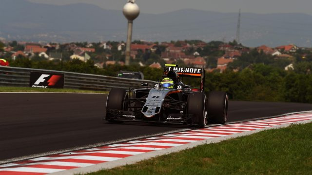 Sergio Perez (MEX) Force India VJM09 at Formula One World Championship, Rd11, Hungarian Grand Prix, Qualifying, Hungaroring, Hungary, Saturday 23 July 2016. &copy&#x3b; Sutton Images
