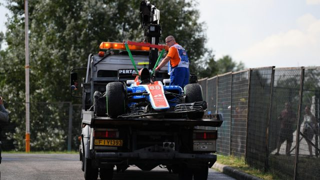 The crashed car of Rio Haryanto (IDN) Manor Racing MRT05 is recovered in Q1 at Formula One World Championship, Rd11, Hungarian Grand Prix, Qualifying, Hungaroring, Hungary, Saturday 23 July 2016. &copy&#x3b; Sutton Images