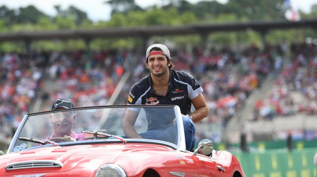 Carlos Sainz (ESP) Scuderia Toro Rosso on the drivers parade at Formula One World Championship, Rd12, German Grand Prix, Race, Hockenheim, Germany, Sunday 31 July 2016. &copy&#x3b; Sutton Images