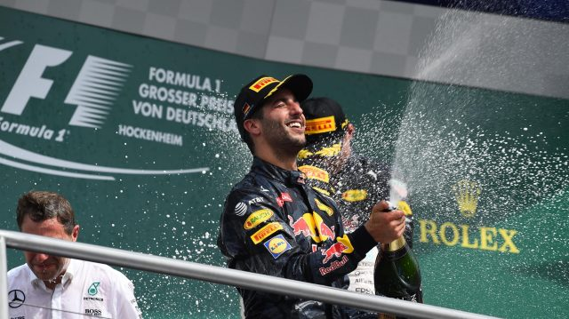 Daniel Ricciardo (AUS) Red Bull Racing celebrates on the podium with the champagne at Formula One World Championship, Rd12, German Grand Prix, Race, Hockenheim, Germany, Sunday 31 July 2016. &copy&#x3b; Sutton Images