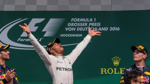 Race winner Lewis Hamilton (GBR) Mercedes AMG F1 celebrates on the podium with the trophy at Formula One World Championship, Rd12, German Grand Prix, Race, Hockenheim, Germany, Sunday 31 July 2016. &copy&#x3b; Sutton Images