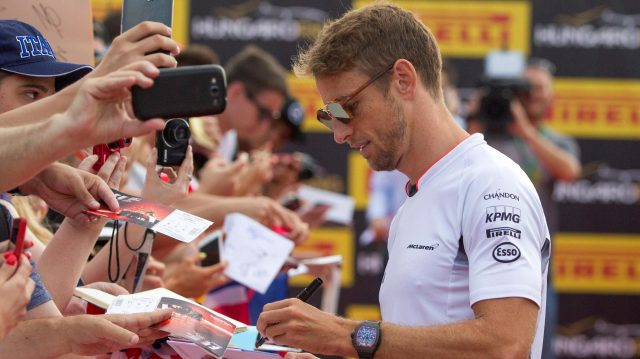 Jenson Button (GBR) McLaren signs autographs for the fans at Formula One World Championship, Rd11, Hungarian Grand Prix, Race, Hungaroring, Hungary, Sunday 24 July 2016. &copy&#x3b; Sutton Images