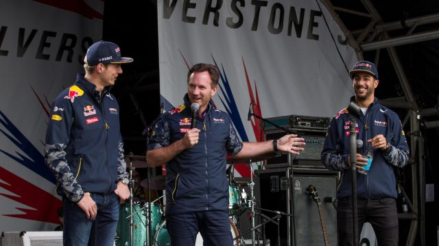 Max Verstappen (NED) Red Bull Racing, Christian Horner (GBR) Red Bull Racing Team Principal and Daniel Ricciardo (AUS) Red Bull Racing at the British Grand Prix Party at Formula One World Championship, Rd10, British Grand Prix, Race, Silverstone, England, Sunday 10 July 2016. &copy&#x3b; Sutton Images