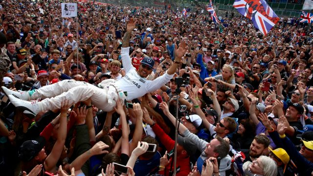 Race winner celebrates with the fans by crowdsurfing at Formula One World Championship, Rd10, British Grand Prix, Race, Silverstone, England, Sunday 10 July 2016. &copy&#x3b; Sutton Images