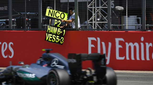 Nico Rosberg (GER) Mercedes-Benz F1 W07 Hybrid passes his pit board at Formula One World Championship, Rd10, British Grand Prix, Race, Silverstone, England, Sunday 10 July 2016. &copy&#x3b; Sutton Images