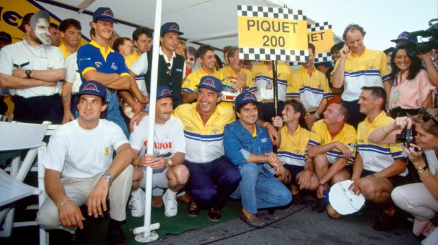 Michael Schumacher, Nigel Mansell, Jean Alesi and Riccardo Patrese were amongst those who turned out to help Nelson Piquet celebrate 200 race starts at Monza in 1991. &copy&#x3b; LAT Photographic