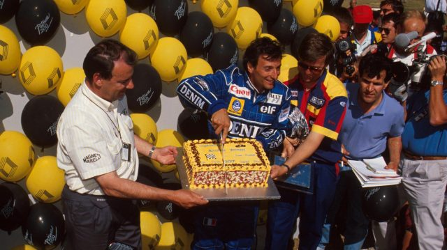 Riccardo Patrese celebrated his 200th Grand Prix start at Silverstone in 1990 with a suitably garish cake. © Sutton Motorsport Images