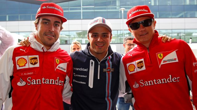 Felipe Massa celebrated his 200th Grand prix start at Silverstone in 2014, and invited former team mates (and fellow 200 club members) Fernando Alonso and Kimi Raikkonen along for the party. &copy&#x3b; Sutton Images