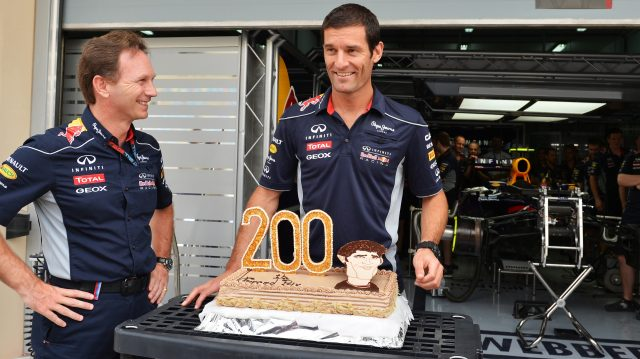 Mark Webber celebrated his 200th Grand Prix start at Bahrain in 2013, with Red Bull team principal Christian Horner giving him his likeness on a cake. &copy&#x3b; Sutton Motorsport Images