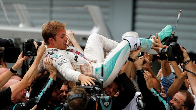 Race winner Nico Rosberg (GER) Mercedes AMG F1 celebrates in Parc ferme with the team at Formula One World Championship, Rd14, Italian Grand Prix, Race, Monza, Italy, Sunday 4 September 2016. &copy&#x3b; Sutton Images