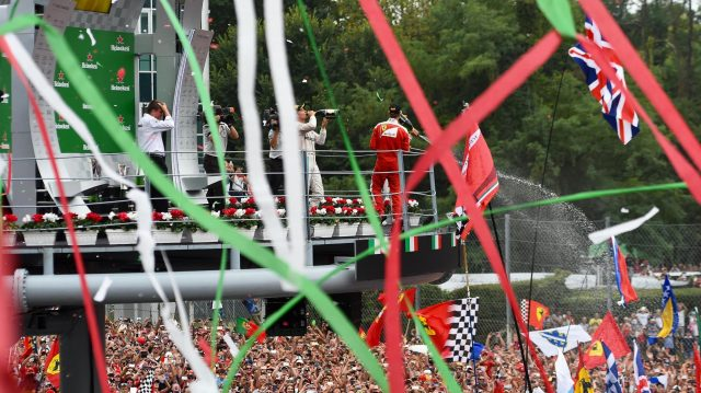 Race winner Nico Rosberg (GER) Mercedes AMG F1 ceebrates with champagne on the podium alongside Lewis Hamilton (GBR) Mercedes AMG F1 and Sebastian Vettel (GER) Ferrari at Formula One World Championship, Rd14, Italian Grand Prix, Race, Monza, Italy, Sunday 4 September 2016. &copy&#x3b; Sutton Images