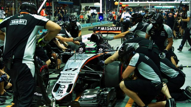 Nico Hulkenberg (GER) Force India VJM09 pit stop at Formula One World Championship, Rd15, Singapore Grand Prix, Practice, Marina Bay Street Circuit, Singapore, Friday 16 September 2016. &copy&#x3b; Sutton Images