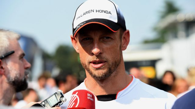 Jenson Button (GBR) McLaren talks to the media at Formula One World Championship, Rd14, Italian Grand Prix, Preparations, Monza, Italy, Thursday 1 September 2016. &copy&#x3b; Sutton Images