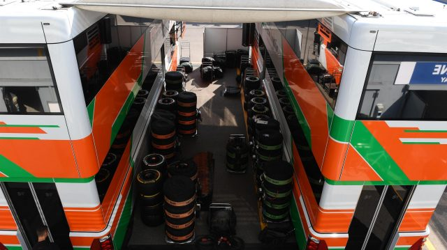 Force India trucks and Pirelli tyres at Formula One World Championship, Rd14, Italian Grand Prix, Preparations, Monza, Italy, Thursday 1 September 2016. &copy&#x3b; Sutton Images