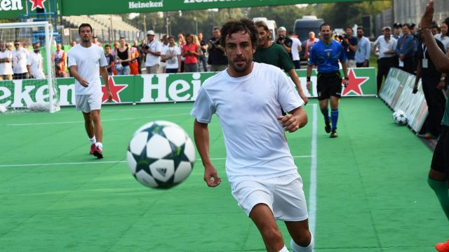 Fernando Alonso (ESP) McLaren at the Heineken Champions Of The Grid 5-A-Side Charity Football Match at Formula One World Championship, Rd14, Italian Grand Prix, Preparations, Monza, Italy, Thursday 1 September 2016. &copy&#x3b; Sutton Images
