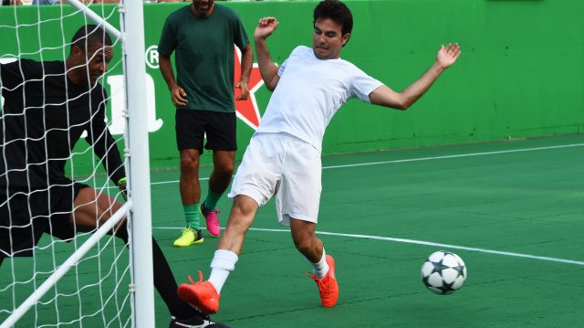 Sergio Perez (MEX) Force India at the Heineken Champions Of The Grid 5-A-Side Charity Football Match at Formula One World Championship, Rd14, Italian Grand Prix, Preparations, Monza, Italy, Thursday 1 September 2016. &copy&#x3b; Sutton Images